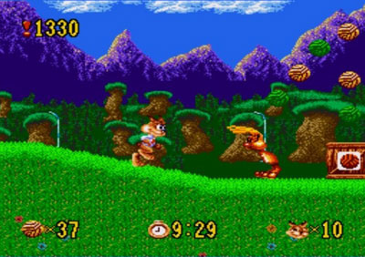 Pantallazo del juego online Bubsy in Claws Encounters of the Furred Kind (Genesis)