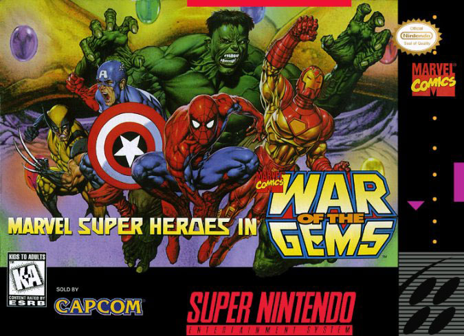 Carátula del juego Marvel Super Heroes in War of the Gems (Snes)