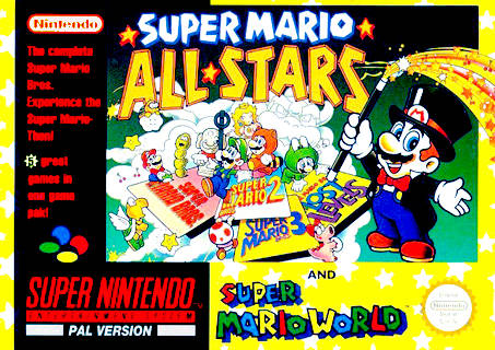 Portada de la descarga de Super Mario All-Stars y Super Mario World
